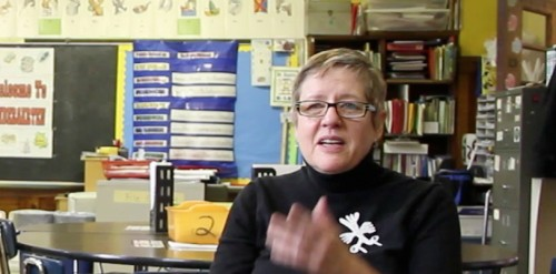 DK during a taping of a kindergarten class for Inquiring Minds at PS 20 in Brooklyn where she volunteers (2011).